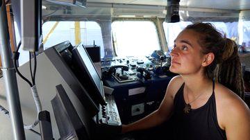 Sea-Watch 3 captain Carola Rackete on board the vessel at sea in the Mediterranean, 20 June 2019.