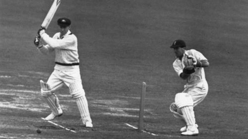 Morris at the crease in 1948. (Getty)