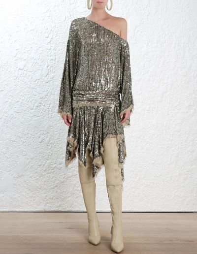 "<a href=""https://www.zimmermannwear.com/readytowear/folly-elusive-mini-dress-brass.html"" target=""_blank"">Zimmermann</a> Foly dress, $2950 <br />"