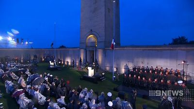 Thousands attended the ceremony at the French town of Villers-Bretonneux, the site where a great battle halted the German offensive on the Somme and changed the course of the war. (9NEWS)