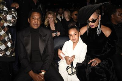 Blue Ivy accompanied her parents Beyoncé and Jay Z to the 2018 Grammy Awards sporting a heart-shaped Valentino Rockstud Minaudière purse, valued at $3,700.