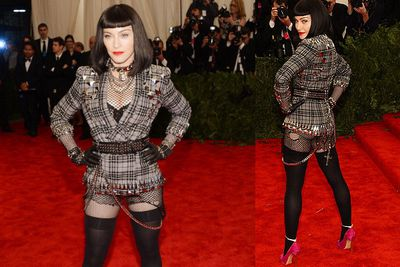 Madonna, 54, stayed true to the punk theme with her Givenchy outfit and Casadei shoes.