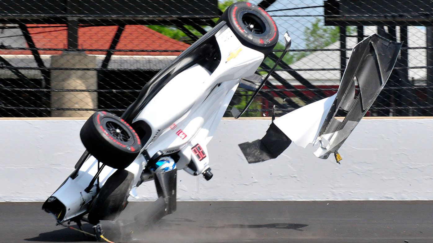 Kyle Kaiser involved in massive accident in practice for the Indy500