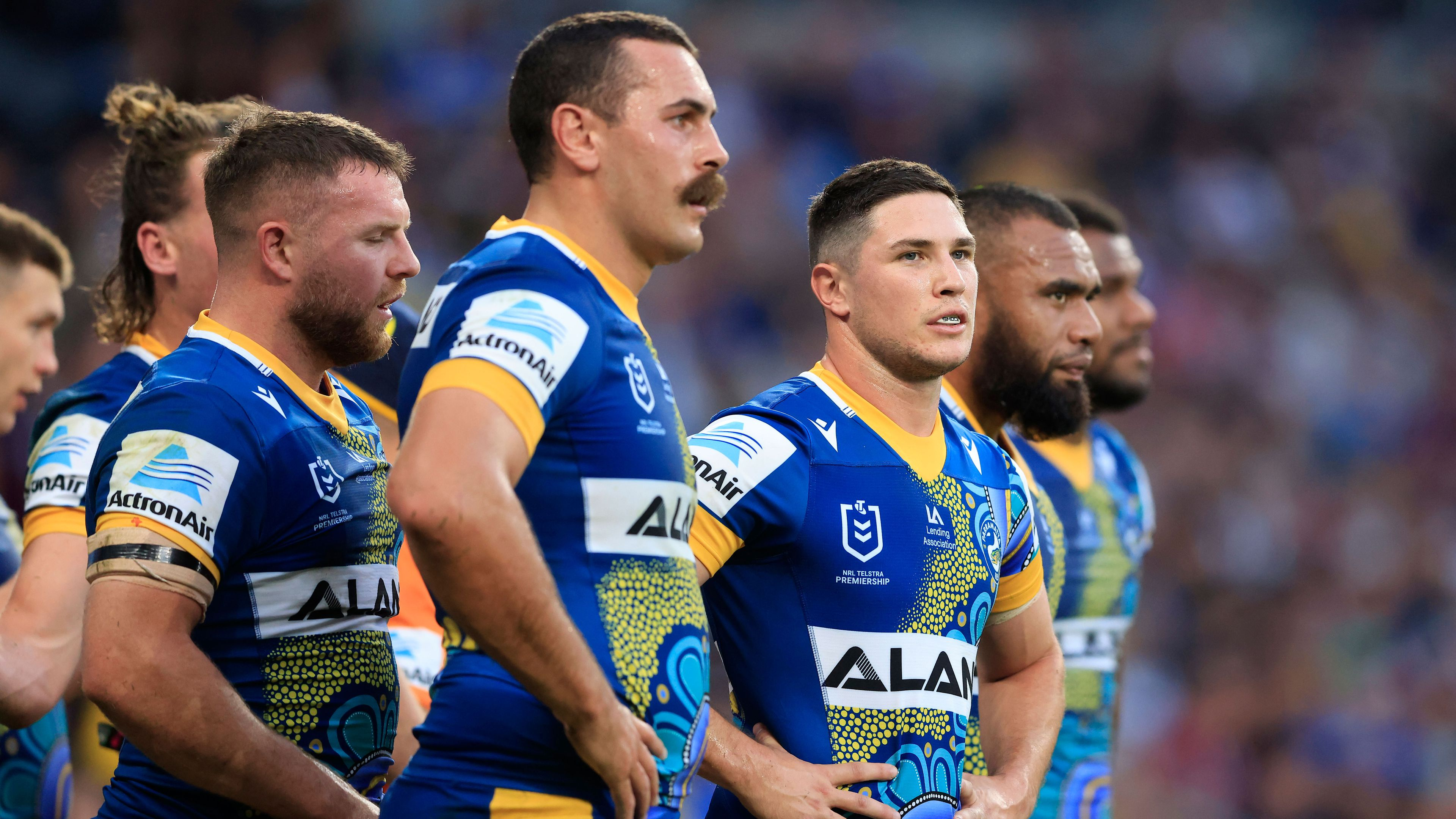 Eels players react after conceding a try against Manly.