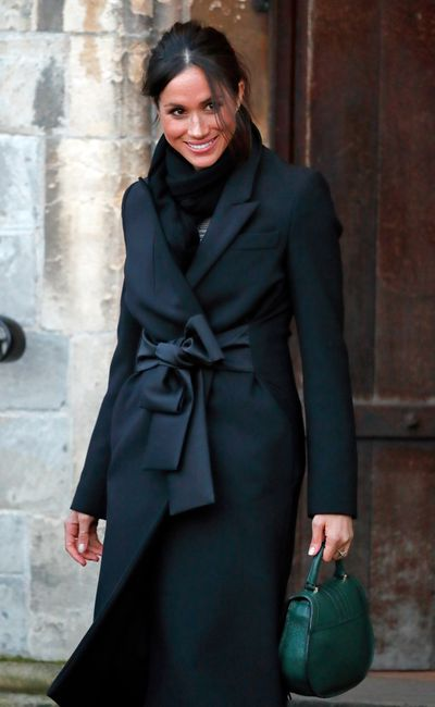 <p>Meghan Markle in Stella McCartney in Cardiff, Wales. January 2018</p>