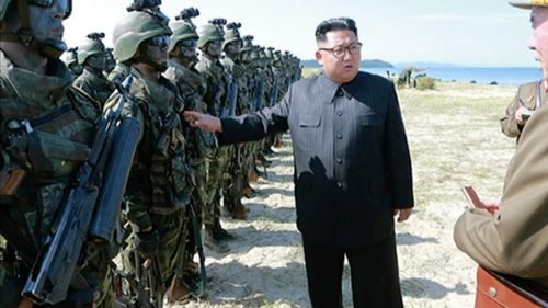 "North Korean leader Kim Jong Un inspecting soldiers during what Korean Central News Agency called a ""target-striking contest"" at unknown location in North Korea. (Image: AAP)"