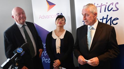 Advance SA candidate Jenny Low stood alongside Adelaide MP John Darley and lawyer Peter Humphries (left). (AAP)