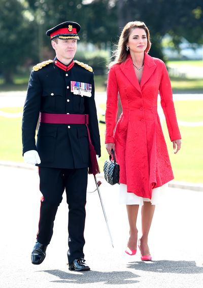 Queen Rania of Jordan in Camberley, England, August 2017