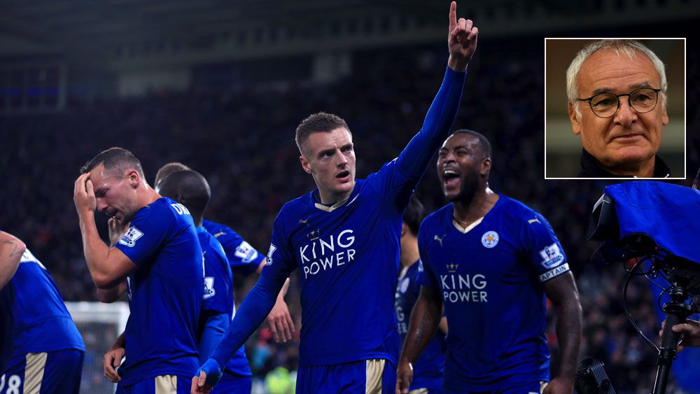Leicester's Jamie Vardy celebrates a goal and (inset) Claudio Ranieri. (AAP)