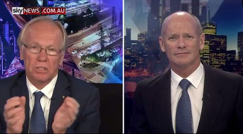 Peter Beattie and fellow former Queensland premier Campbell Newman discussed the Commonwealth Games closing ceremony on Sky News. (Supplied)