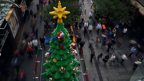 500,000 Lego bricks build Sydney Christmas tree