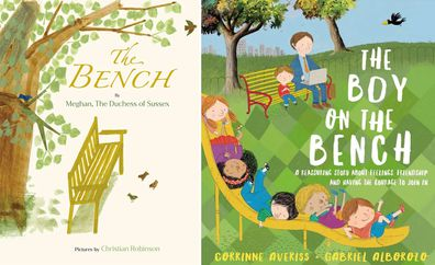 The Bench cover (left) and The Boy on the Bench book cover (right)