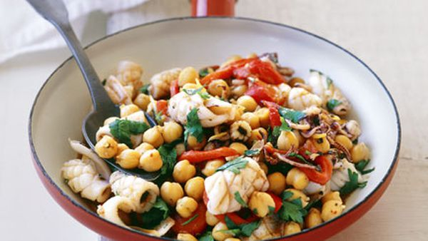 Pan-fried baby cuttlefish and chickpeas with za'atar
