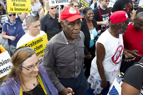 Glover at a rally in Washington earlier this year. Picture: AAP