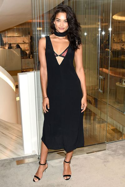 Model Shanina Shaik at Barneys store opening in New York in March, 2016