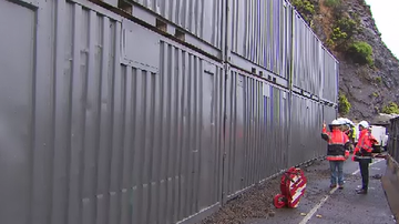 Great wall of shipping containers for Victoria's famous Ocean Road