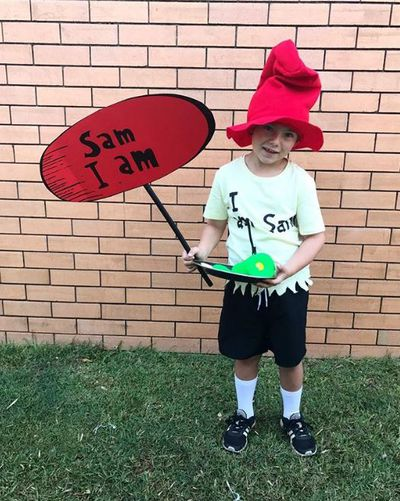 "Sam I Am from Green Eggs and Ham. Who doesn't have shorts and a tee shirt and some coloured green card for the eggs. Easy. Get a Dr Seuss hat from <a href=""https://www.costumebox.com.au/dr-seuss-cat-in-the-hat-kids-hat.html?gclid=EAIaIQobChMI2JvgsoTg1QIViYK9Ch0BJwJBEAQYASABEgJ5-_D_BwE"" target=""_blank"">here</a>."