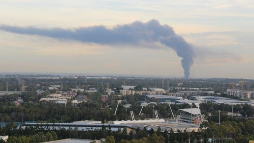 Smoke from the fire as seen from Olympic Park. (Chris Lee/Supplied)