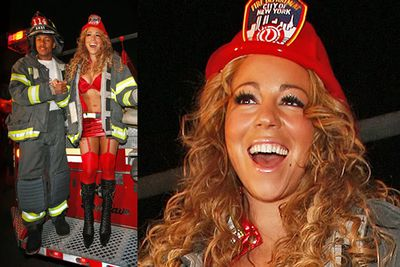 Call 911! Mariah and her hubby Nick Cannon are smokin' hot in this matching get-up.