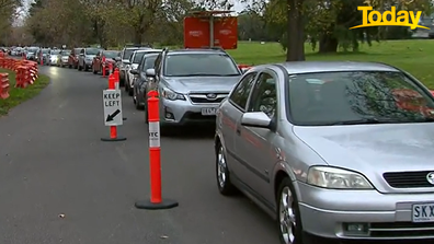 This was the line outside the Albert Park testing hub, half an hour before the facility opened this morning.