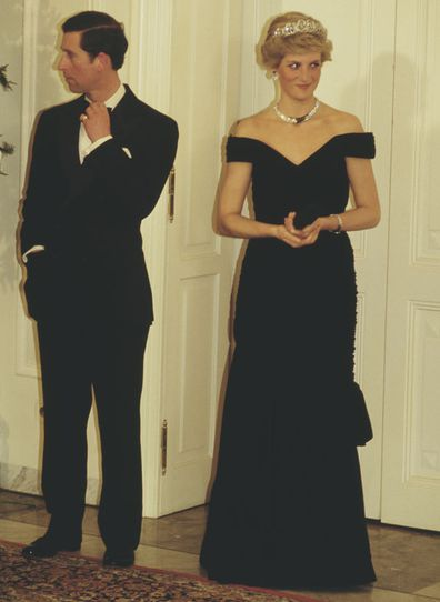 Prince Charles and Diana, Princess of Wales attend a presidential state banquet in Bonn, Germany, 2nd November 1987. Diana is wearing an evening gown by Victor Edelstein.