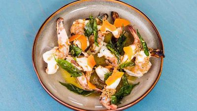 """Hamish Ingham's <a href=""""http://kitchen.nine.com.au/2017/02/10/14/19/chargrilled-prawns-with-pickled-turmeric-brown-butter-and-crispy-curry-leaves"""" target=""""_top"""">Banksii chargrilled prawns with pickled turmeric, brown butter and crispy curry leaves</a> recipe<br style=""""box-sizing: border-box;"""">"""