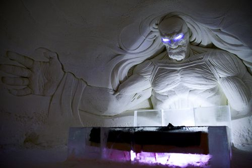 A terrifying White Walker has been sculpted into the ice. (AAP)