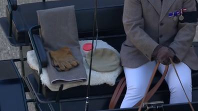 Prince Philip's carriage driving cap, whip and gloves during funeral