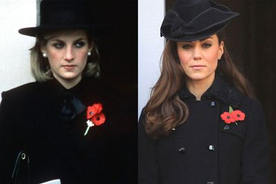 It didn't take long for the comparisons between Duchess Catherine and the late Princess Diana to start. This pic is of both royal beauties on Remembrance Day- 27 years apart.