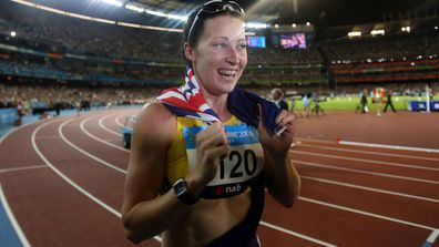 Jana Pittman wins gold in the women's 400m hurdles at the Commonwealth Games in 2006