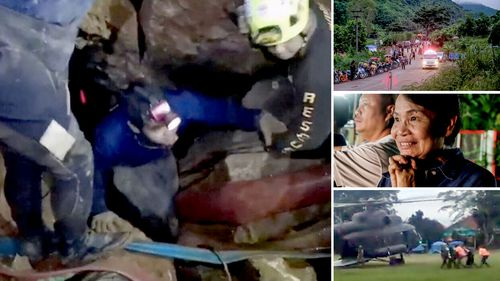 Thankful parents watch on as the rescue mission is underway. Pictures: AAP
