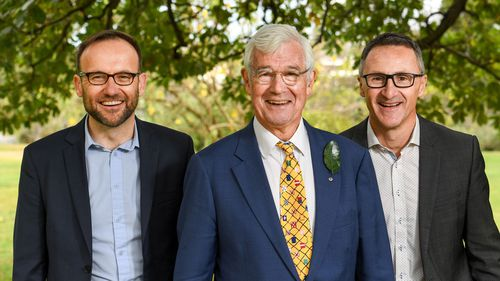 Greens MP Adam Bandt (left), Greens candidate for Kooyong Julian Burnside (centre) and Leader of the Australian Greens Dr Richard Di Natale (right).