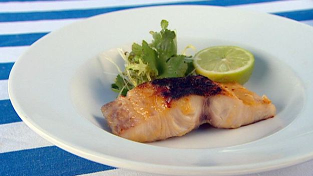 Miso grilled kingfish with Asian herb salad
