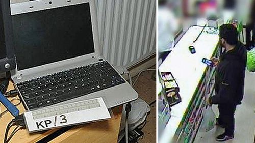 A laptop computer found in the home of would-be bomber Munir Mohammed. Mohammed and Rowaida El-Hassan. Right: Munir Mohammed at a local supermarket where he bought nail varnish as part of a bomb making plot. (Photo: AP)