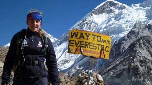Everest climber Alyssa Azar is safe at Base Camp following the fatal avalanche. (Source: Facebook)