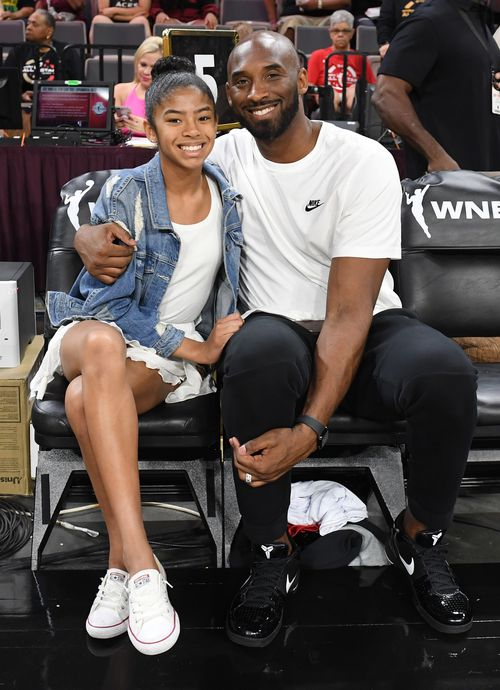 Gianna Bryant and her father, former NBA player Kobe Bryant, attend the WNBA All-Star Game 2019 at the Mandalay Bay Events Center in Las Vegas, Nevada