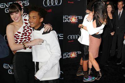 <i>Ender's Game</i> star Hailee Steinfeld with Jaden Smith / Jaden hugging Kylie Jenner on the red carpet.