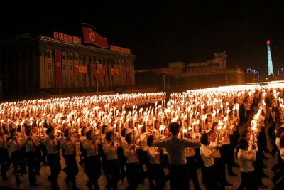 Torch parade marks close of North Korea National Day celebrations