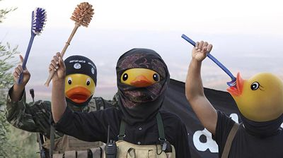 Hundreds of images have now been made, with some photoshopping toilet brushes in the hands of fighters in place of guns.