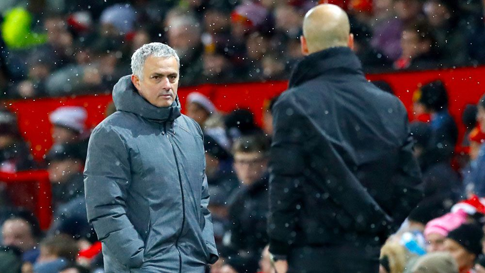 Man City players and Man U boss Jose Mourinho clash after derby in English Premier League