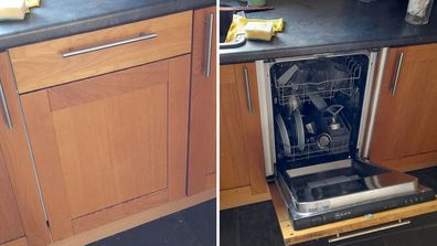 A man has discovered he has a dishwasher in his kitchen