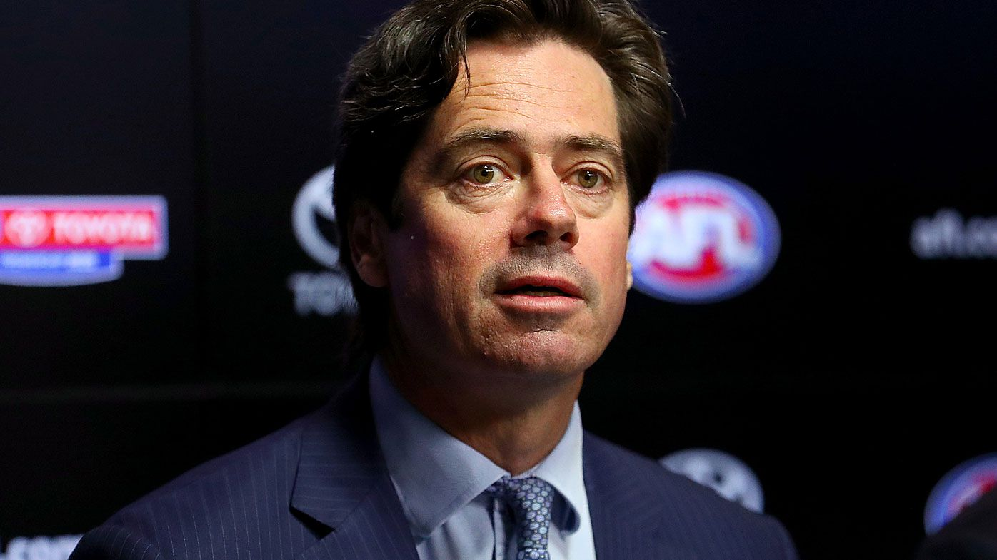 AFL CEO Gillon McLachlan speaks during a press conference about the coronavirus concerns