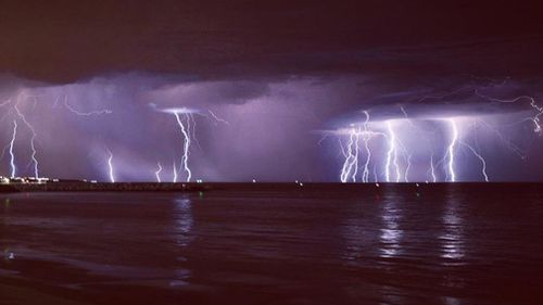 The lightning show lit up skies over Adelaide.