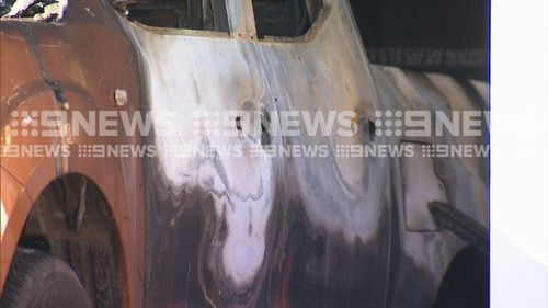 The flames spread throughout the carport, but fire crews were able to extinguish the blaze. Picture: 9NEWS