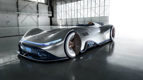 The EQ Vision Silver Arrow show car from Mercedes-Benz.