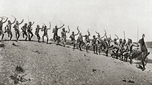A war dance in the Kimberleys in Western Australia, 19th century.