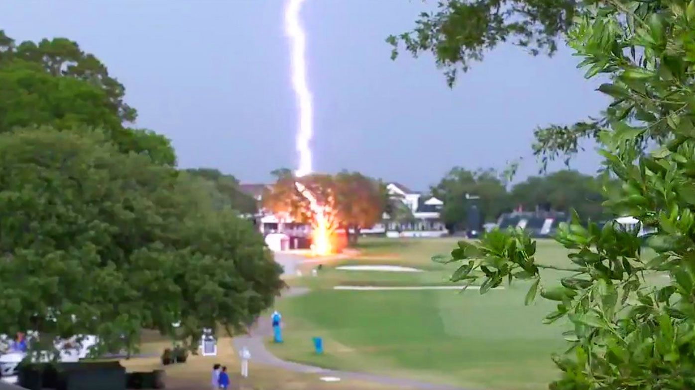 Golf reporter Shane Bacon captured the lightning strike when it happened