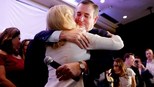 Ted Cruz hugs his wife Heidi after declaring victory at their election night headquarters in the Midterm general election at the Hilton Post Oak in Houston, Texas.