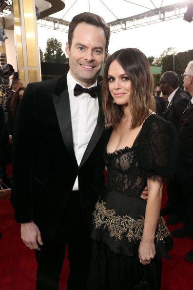 Bill Hader and Rachel Bilson arrive to the 77th Annual Golden Globe Awards