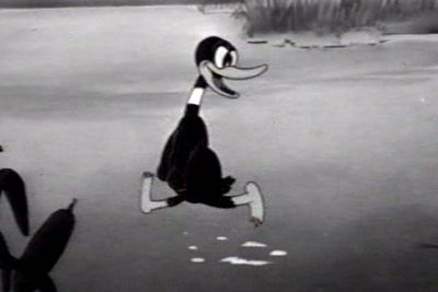 "While Daffy has always been a bit nutso, he was <i>really </i>nutso in his earlier appearances — as in, ""terrifyingly bizarre"". He made his first appearance in the 1937 cartoon <i>Porky's Duck Hunt</i>, taunting Porky Pig with his off-the-wall antics and crazy hooting."